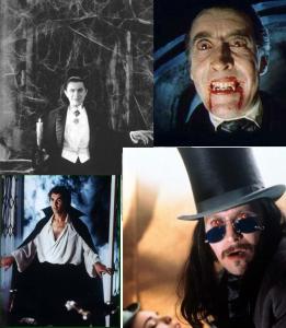 Clockwise from top left: Lugosi (1931), Lee (1958), Oldman (1992), Langella (1979)